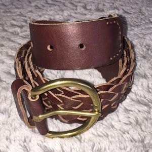 Tommy Bahama Braided Brown Leather Belt Large